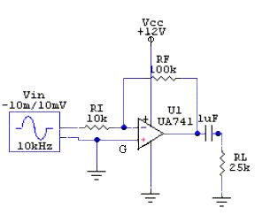 Amplifiers using IC-741 Op-Amp